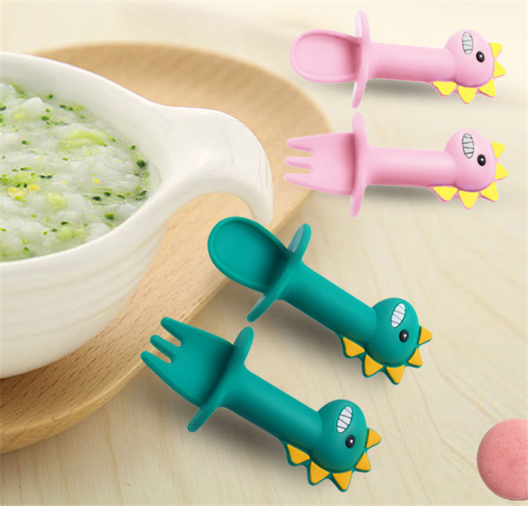 Dinosaur Shape Silicone Spoon Mold for Baby Eating Training